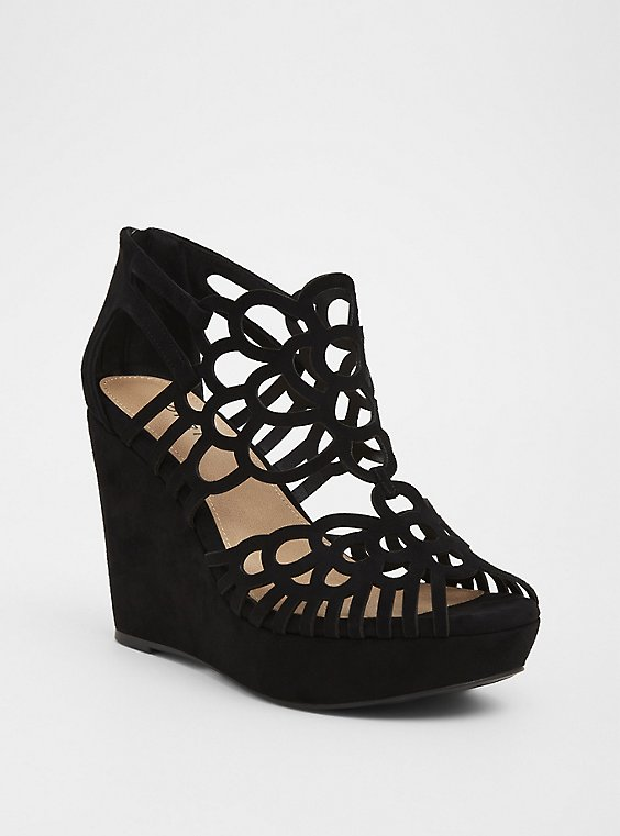 Black Faux Suede Laser Cut Platform Wedge (WW), , hi-res