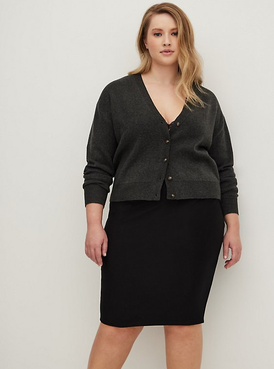 Black Premium Ponte Pencil Skirt, , hi-res