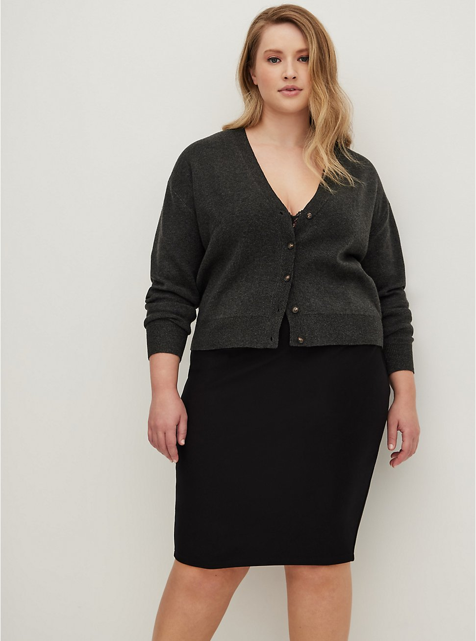 Plus Size Black Premium Ponte Pencil Skirt, DEEP BLACK, hi-res