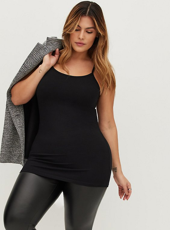 Plus Size Black Scoop Neck Tunic Foxy Cami, , hi-res