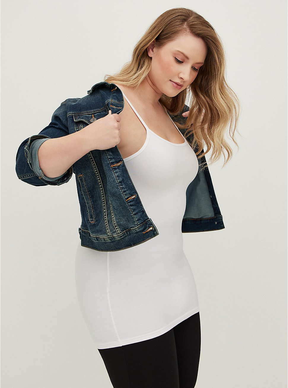 Plus Size White Scoop Neck Tunic Foxy Cami, BRIGHT WHITE, hi-res