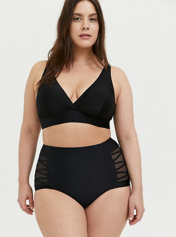 Plus Size Black Wireless Triangle Bikini Top, , hi-res