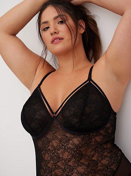 Black Lace & Mesh Strappy Bodysuit, RICH BLACK, alternate