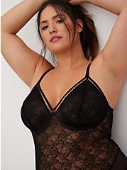 Black Lace & Mesh Strappy Bodysuit, RICH BLACK, alternate
