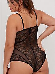 Plus Size Black Lace & Mesh Strappy Bodysuit, RICH BLACK, alternate