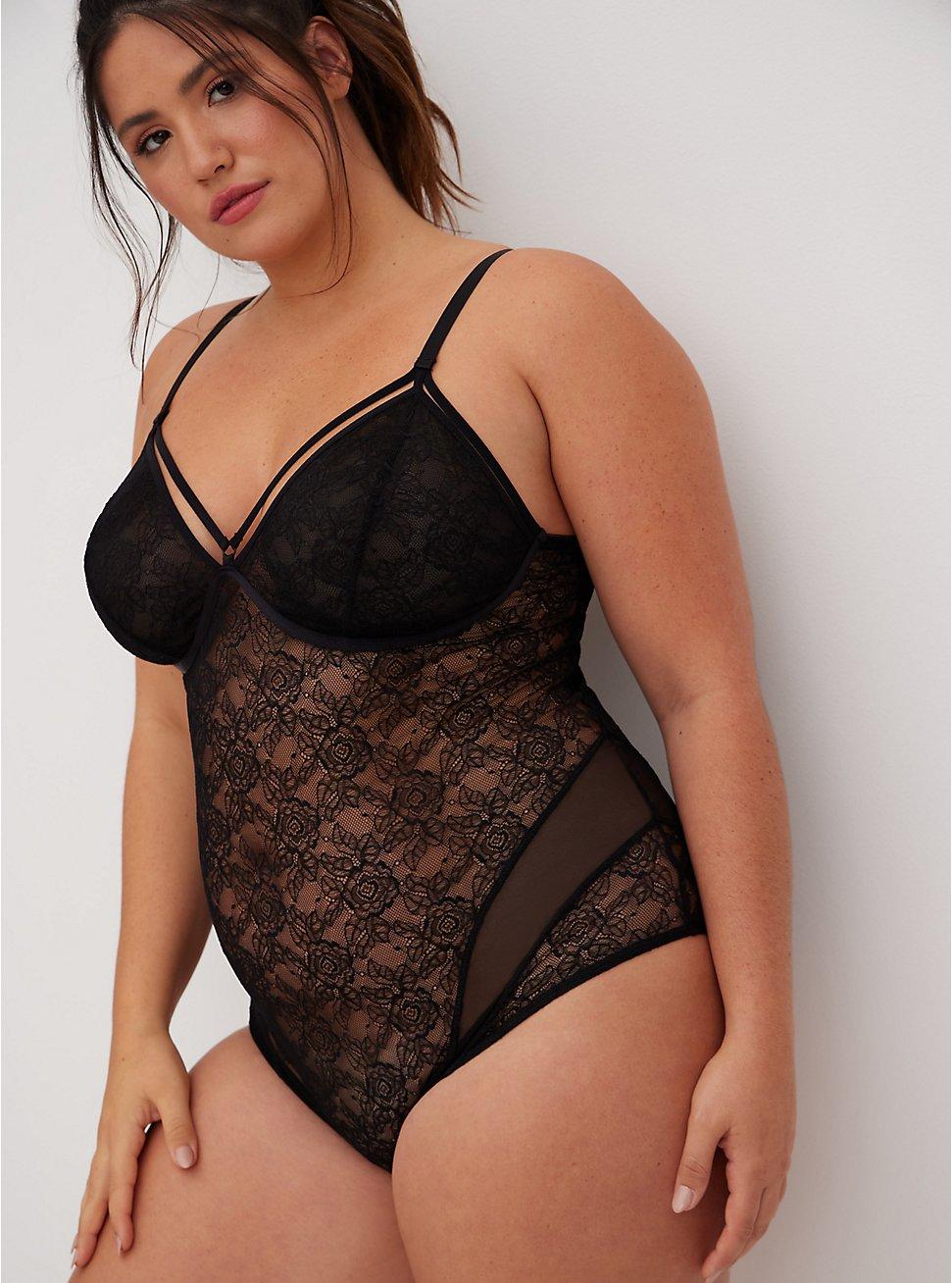 Plus Size Black Lace & Mesh Strappy Bodysuit, RICH BLACK, hi-res