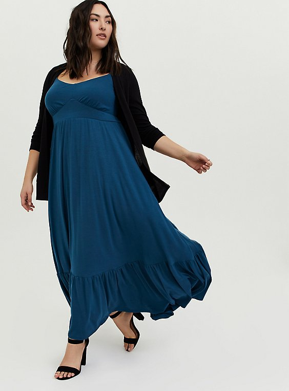 Plus Size Navy Jersey Maxi Dress, , hi-res