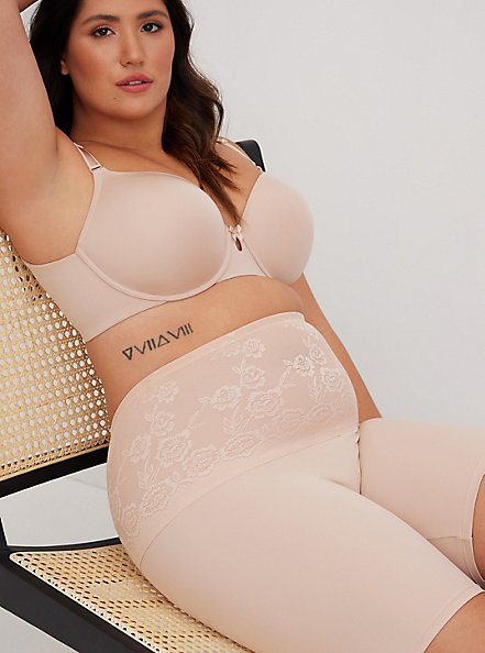 Beige Microfiber 360° Smoothing High Waist Short, ROSE DUST, alternate