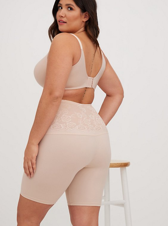 Plus Size Beige Microfiber 360° Smoothing High Waist Short, , hi-res