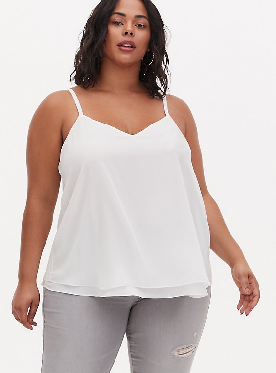 Plus Size Sophie - Ivory Chiffon Double Layer Swing Cami, , hi-res