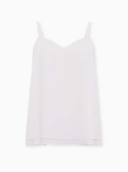 Sophie - Ivory Chiffon Double Layer Swing Cami, CLOUD DANCER, hi-res