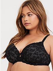 Plus Size Grey & Black Lace Lightly Lined T-Shirt Bra, RICH BLACK, alternate