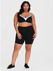 Plus Size Black & White Microfiber Underwire Lightly Lined Sports Bra, BLACK-WHITE, alternate