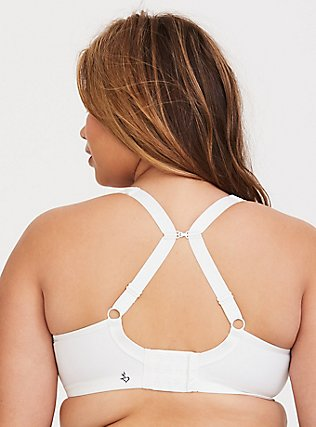 White Microfiber Underwire Lightly Lined Sports Bra, BRIGHT WHITE, alternate
