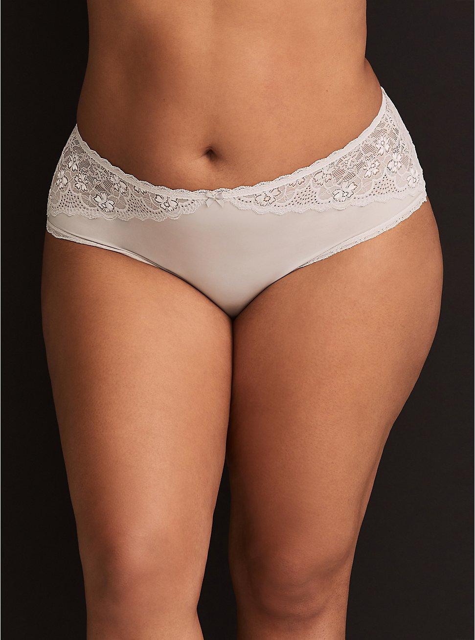 Light Grey Microfiber & Lace Cheeky Panty, LIGHT GRAY, hi-res