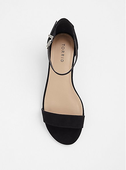 Black Faux Suede Block Heel (WW), BLACK, alternate