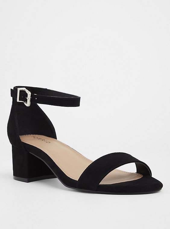 Plus Size Black Faux Suede Block Heel (WW), , hi-res