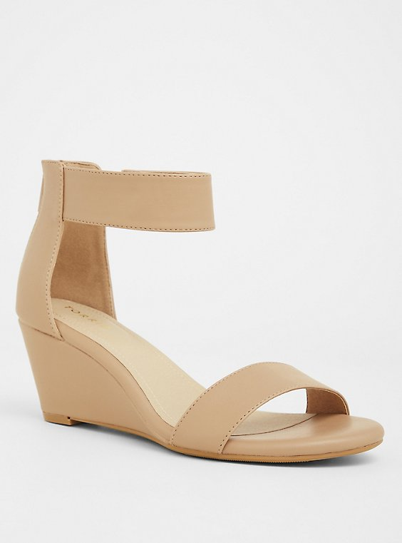 Beige Faux Leather Ankle Strap Mini Wedges (WW), , hi-res