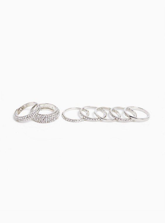 Stackable Silver Pavé Rings - Set of 7, , hi-res