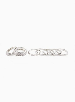 Stackable Silver Pavé Rings - Set of 7, SILVER, hi-res