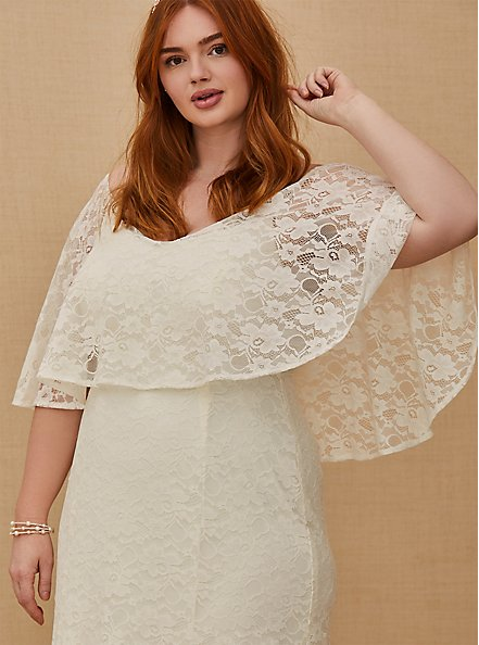 Plus Size Ivory Lace Capelet Wedding Dress, CLOUD DANCER, alternate