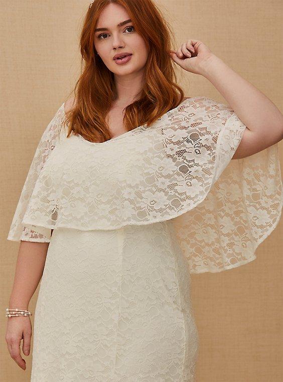 Plus Size Ivory Lace Capelet Wedding Dress Torrid