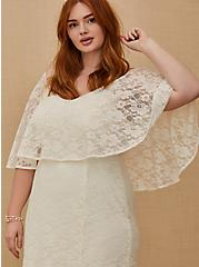 Ivory Lace Capelet Wedding Dress, CLOUD DANCER, alternate