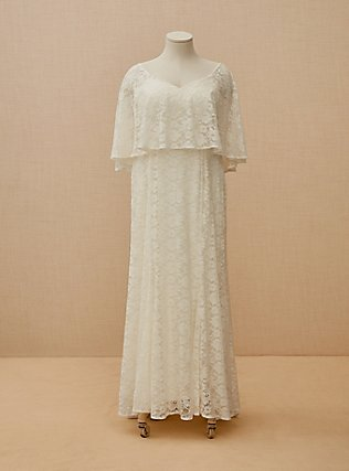 Ivory Lace Capelet Wedding Dress, CLOUD DANCER, flat