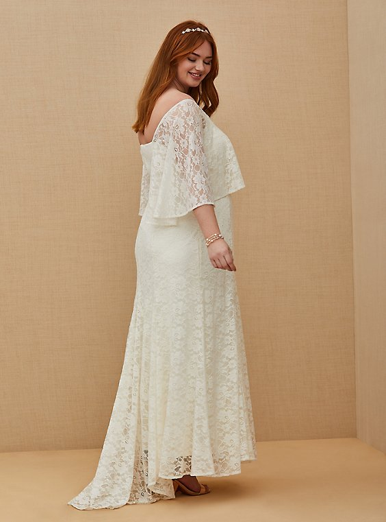Plus Size Ivory Lace Capelet Wedding Dress, , hi-res