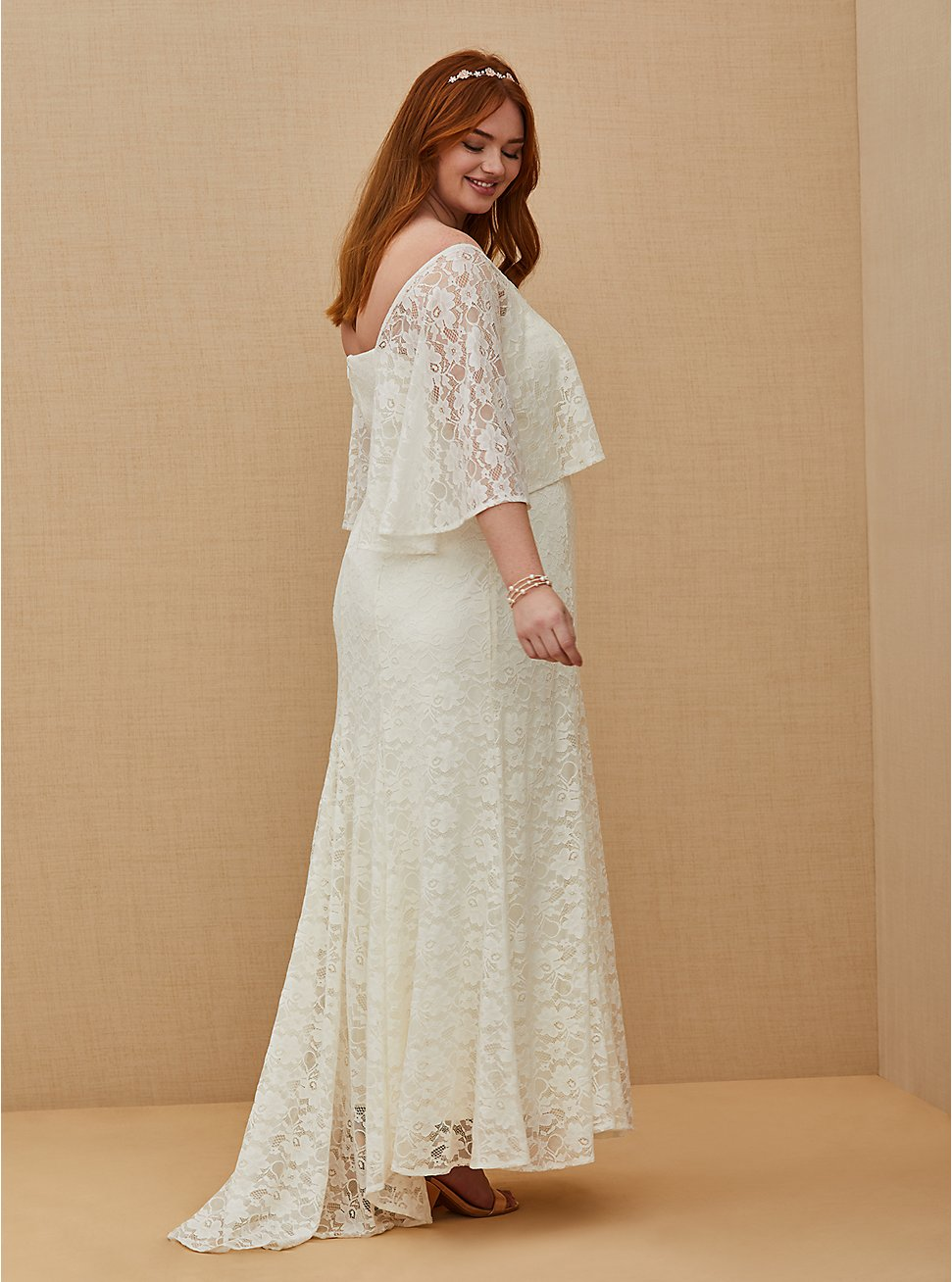 Ivory Lace Capelet Wedding Dress, CLOUD DANCER, hi-res