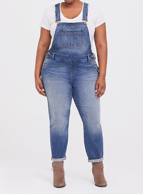 Crop Overall - Vintage Stretch Light Wash, , hi-res