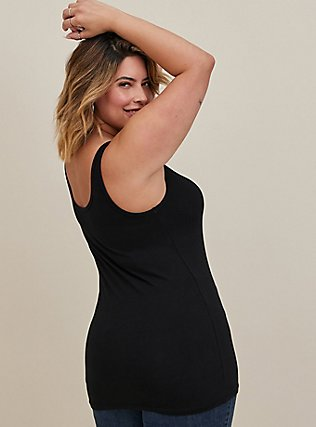 Plus Size Black Scoop Neck Foxy Tank, BLACK, alternate