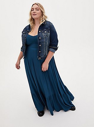 Plus Size Teal Blue Jersey Shirred Hem Maxi Dress, IMPERIAL BLUE, alternate