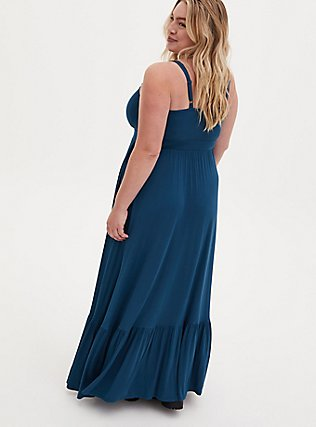 Teal Blue Jersey Shirred Hem Maxi Dress, IMPERIAL BLUE, alternate