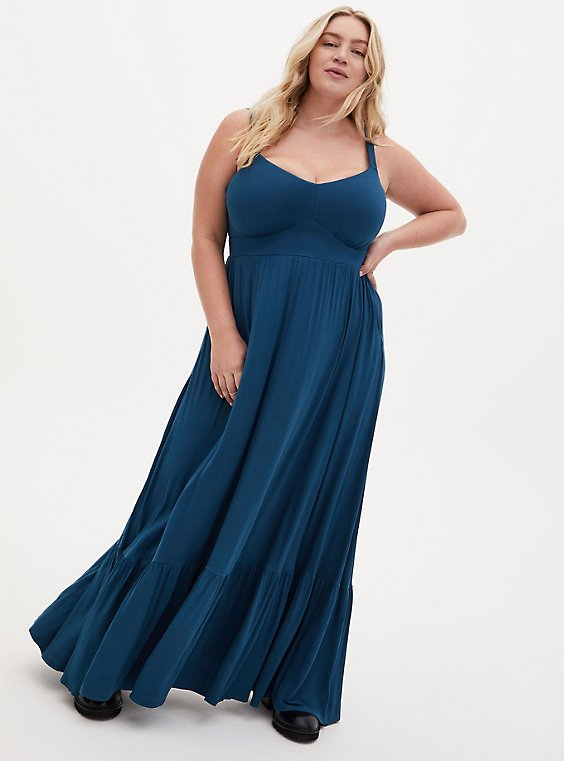 Plus Size Teal Blue Jersey Shirred Hem Maxi Dress, , hi-res