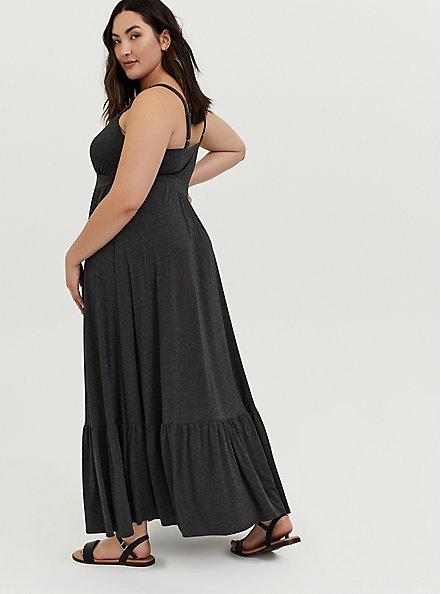 Plus Size Charcoal Grey Jersey Shirred Hem Maxi Dress, CHARCOAL HEATHER, alternate