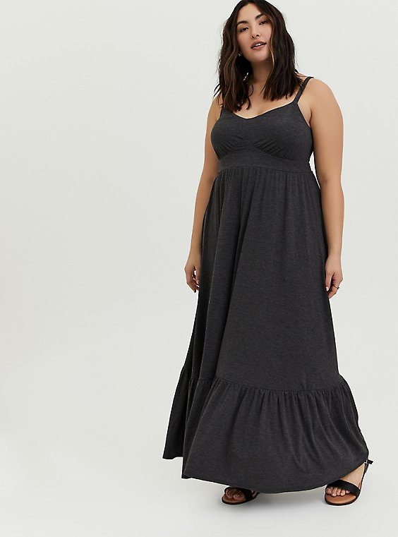 Charcoal Grey Jersey Shirred Hem Maxi Dress, , hi-res