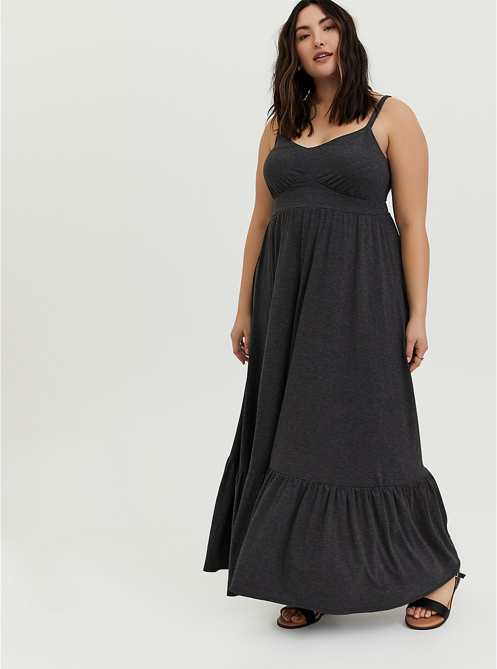 Plus Size Charcoal Grey Jersey Shirred Hem Maxi Dress, CHARCOAL HEATHER, hi-res