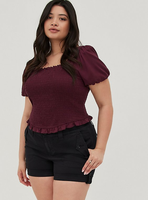 Plus Size Military Short Short - Twill Black , , hi-res