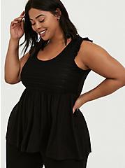 Super Soft Black Lace Hi-Lo Babydoll Tank, BLACK, hi-res