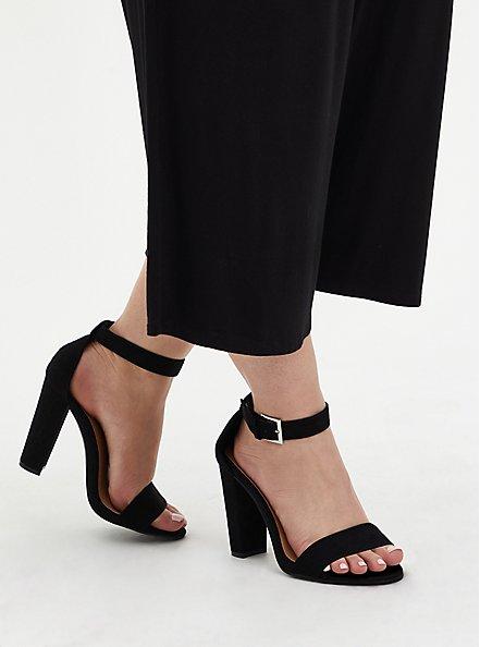 Staci - Black Faux Suede Ankle Strap Tapered Heel (WW), BLACK, alternate