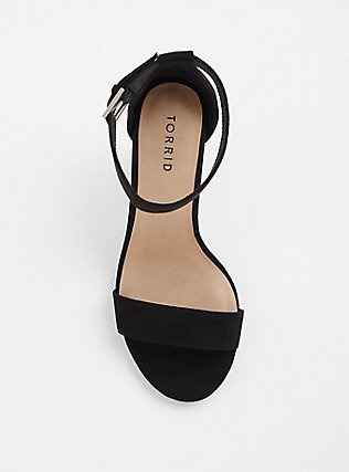 Black Ankle Strap Tapered Heel (WW), BLACK, alternate