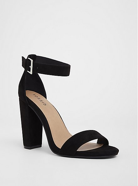 Plus Size Staci - Black Faux Suede Ankle Strap Tapered Heel (WW), BLACK, hi-res