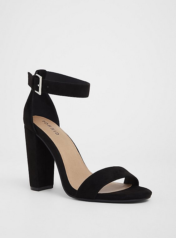 Black Ankle Strap Tapered Heel (WW), BLACK, hi-res