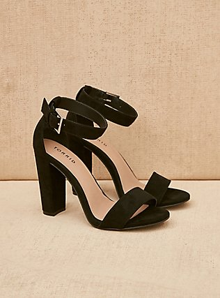 Black Ankle Strap Tapered Heel (WW), BLACK, pdped