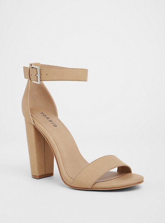 Plus Size Beige Faux Nubuck Tapered Heel Sandal (WW), , hi-res