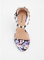 Plus Size Floral Stripe Chunky Heel (WW), MULTI, alternate