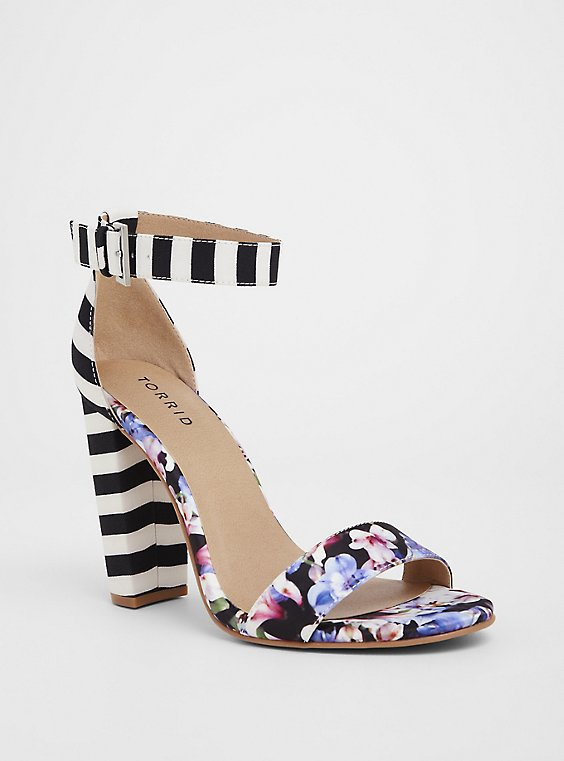 Plus Size Floral Stripe Chunky Heel (WW), , hi-res