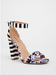 Floral Stripe Chunky Heel (WW), MULTI, hi-res