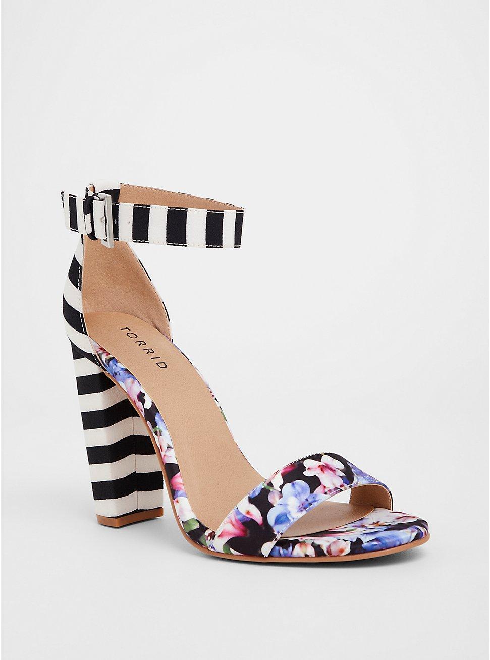 Plus Size Floral Stripe Chunky Heel (WW), MULTI, hi-res